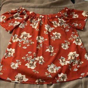 Off the shoulder floral short sleeve medium